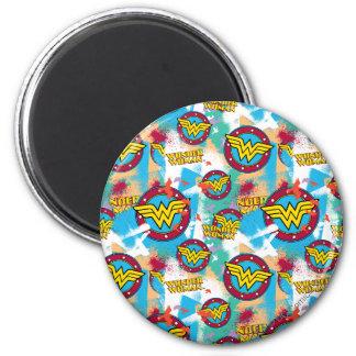 Wonder Woman Spray Paint Pattern Magnet