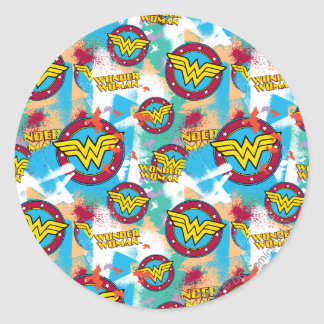 Wonder Woman Spray Paint Pattern Round Sticker