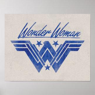 Wonder Woman Stacked Stars Symbol Poster