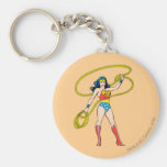 Wonder Woman Standing with Lasso Basic Round Button Key Ring