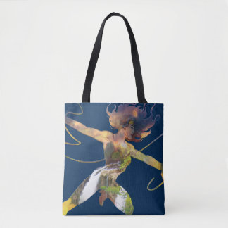 Wonder Woman Sunset Waterfall Silhouette Tote Bag