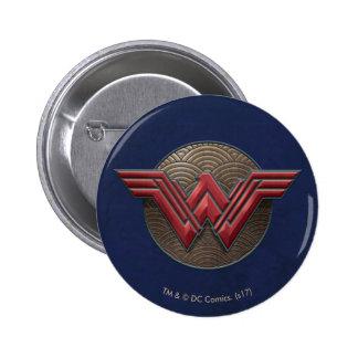 Wonder Woman Symbol Over Concentric Circles 6 Cm Round Badge