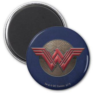 Wonder Woman Symbol Over Concentric Circles 6 Cm Round Magnet
