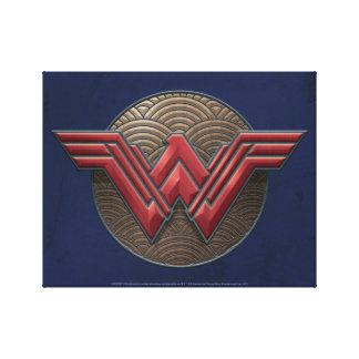 Wonder Woman Symbol Over Concentric Circles Canvas Print