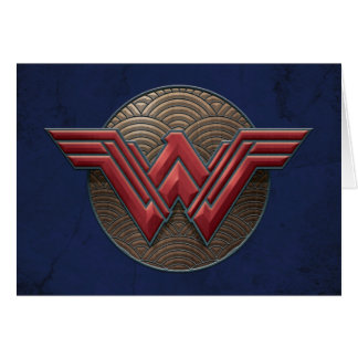 Wonder Woman Symbol Over Concentric Circles Card