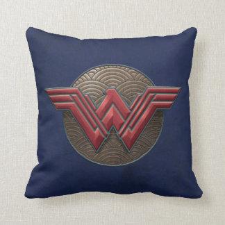 Wonder Woman Symbol Over Concentric Circles Cushion