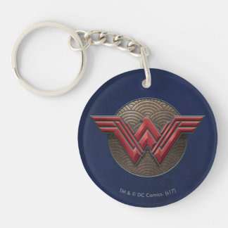 Wonder Woman Symbol Over Concentric Circles Double-Sided Round Acrylic Key Ring
