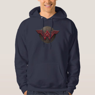 Wonder Woman Symbol Over Concentric Circles Hoodie