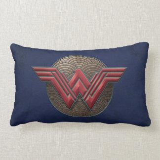 Wonder Woman Symbol Over Concentric Circles Lumbar Cushion