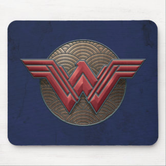Wonder Woman Symbol Over Concentric Circles Mouse Pad