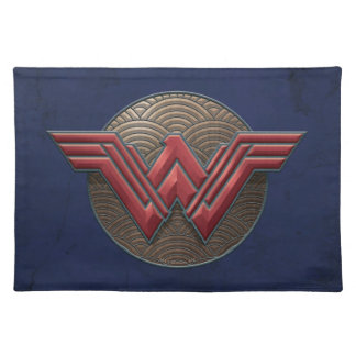 Wonder Woman Symbol Over Concentric Circles Placemats