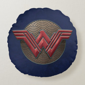 Wonder Woman Symbol Over Concentric Circles Round Cushion