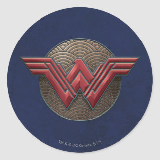 Wonder Woman Symbol Over Concentric Circles Round Sticker