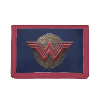 Wonder Woman Symbol Over Concentric Circles Trifold Wallet