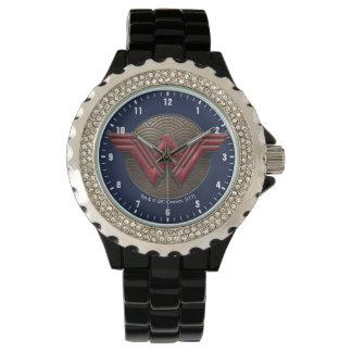 Wonder Woman Symbol Over Concentric Circles Wrist Watch