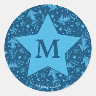 Wonder Woman Symbol Pattern | Monogram Classic Round Sticker