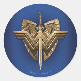 Wonder Woman Symbol With Sword of Justice Round Sticker
