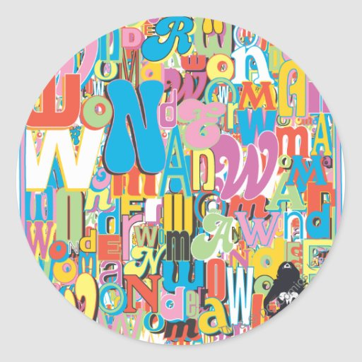 Wonder Woman Text Collage Stickers