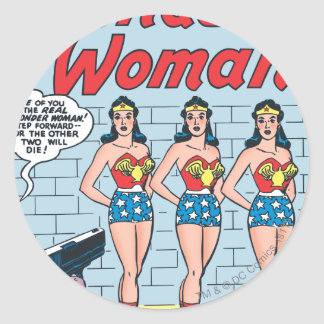 Wonder Woman Triple Identity Round Sticker