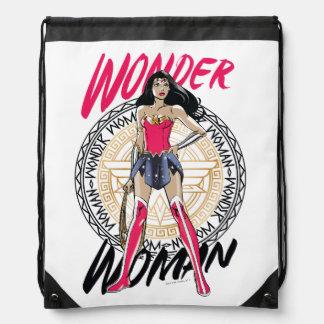 Wonder Woman With Greek Tribal Emblem Drawstring Bag