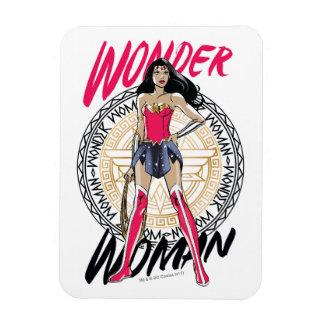 Wonder Woman With Greek Tribal Emblem Magnet