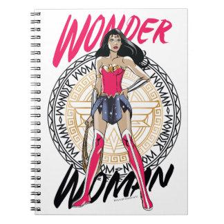 Wonder Woman With Greek Tribal Emblem Notebook