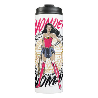 Wonder Woman With Greek Tribal Emblem Thermal Tumbler