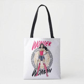 Wonder Woman With Greek Tribal Emblem Tote Bag