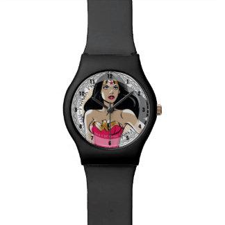 Wonder Woman With Greek Tribal Emblem Wrist Watches