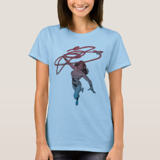 Wonder Woman With Lasso Red Blue Gradient Line Art T-Shirt
