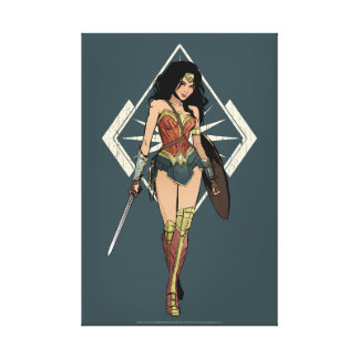 Wonder Woman With Sword Comic Art Canvas Print