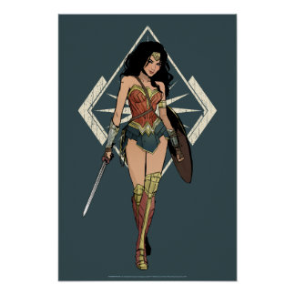 Wonder Woman With Sword Comic Art Poster