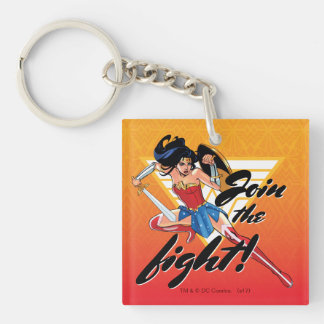 Wonder Woman With Sword - Join The Fight Double-Sided Square Acrylic Key Ring