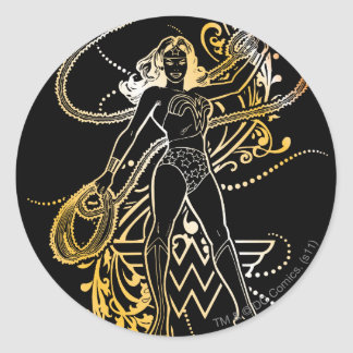Wonder Woman Yellow Fade Round Stickers