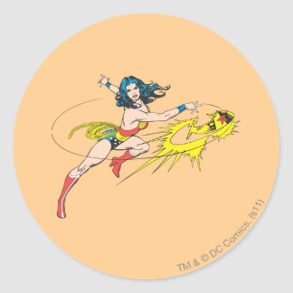 Wonder WomanThrows Crown Classic Round Sticker