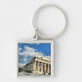 Wonderful Acropolis in Athens Silver-Colored Square Key Ring