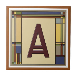 Wonderful Arts & Crafts Geometric Initial A Ceramic Tile