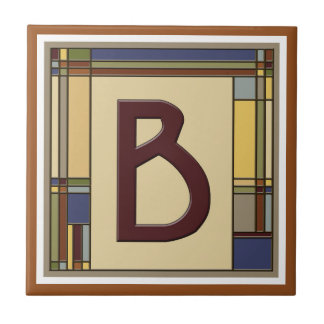 Wonderful Arts & Crafts Geometric Initial B Ceramic Tile
