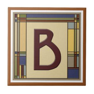 Wonderful Arts & Crafts Geometric Initial B Small Square Tile