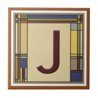 Wonderful Arts & Crafts Geometric Initial J Tile