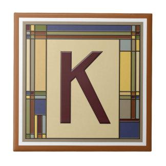 Wonderful Arts & Crafts Geometric Initial K Tile