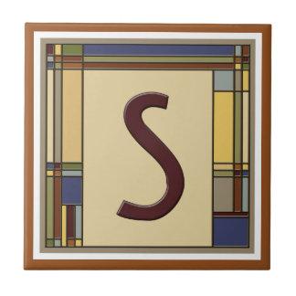 Wonderful Arts & Crafts Geometric Initial S Tile
