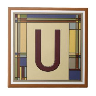 Wonderful Arts & Crafts Geometric Initial U Ceramic Tile