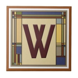 Wonderful Arts & Crafts Geometric Initial W Ceramic Tile