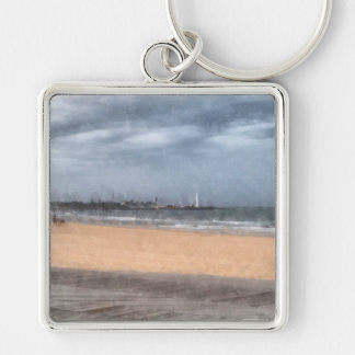 Wonderful beach Silver-Colored square key ring
