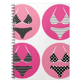 Wonderful bikini on pink notebooks