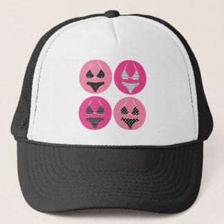 Wonderful bikini on pink trucker hat