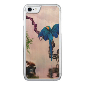 Wonderful blue parrot carved iPhone 8/7 case