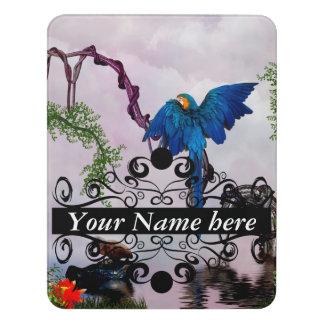 Wonderful blue parrot door sign