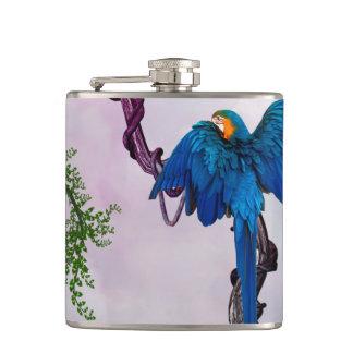 Wonderful blue parrot hip flask